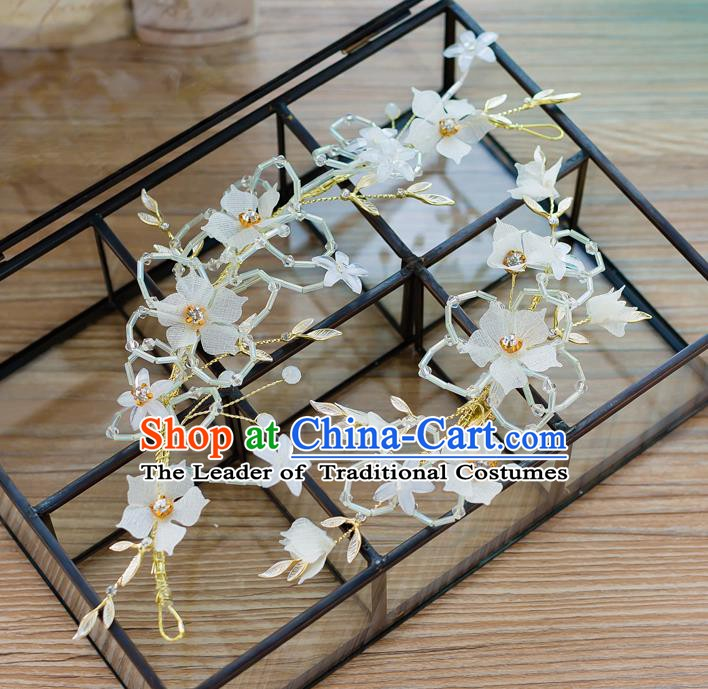 Handmade Classical Wedding Hair Accessories Bride Hair Clasp White Flowers Hair Stick for Women