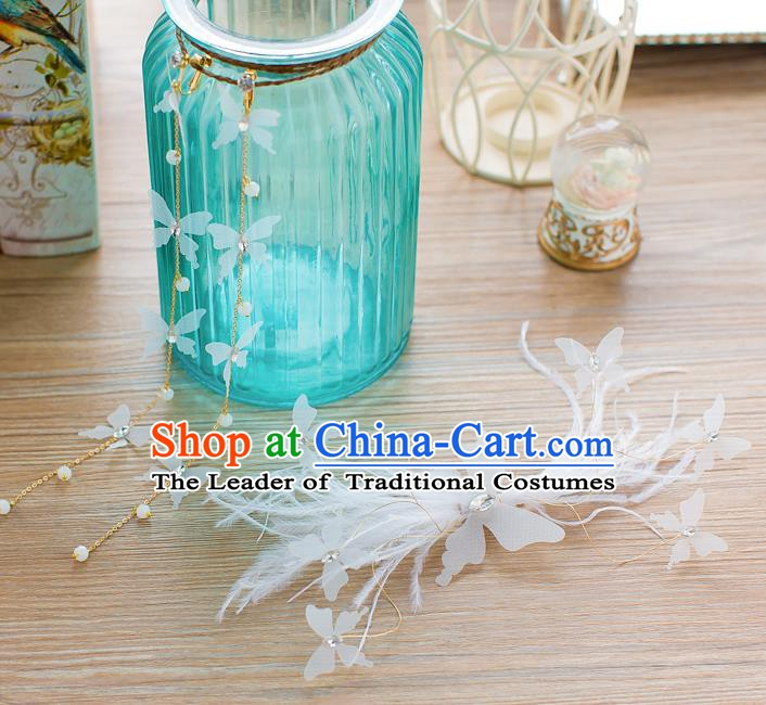 Handmade Classical Wedding Hair Accessories Bride Hair Clasp White Feather Hair Stick for Women