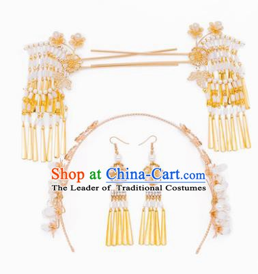 Chinese Handmade Classical Hair Accessories Ancient Palace Tassel Step Shake Hairpins Complete Set for Women