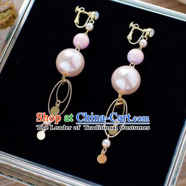 Handmade Classical Wedding Accessories Bride Pink Pearls Tassel Earrings for Women