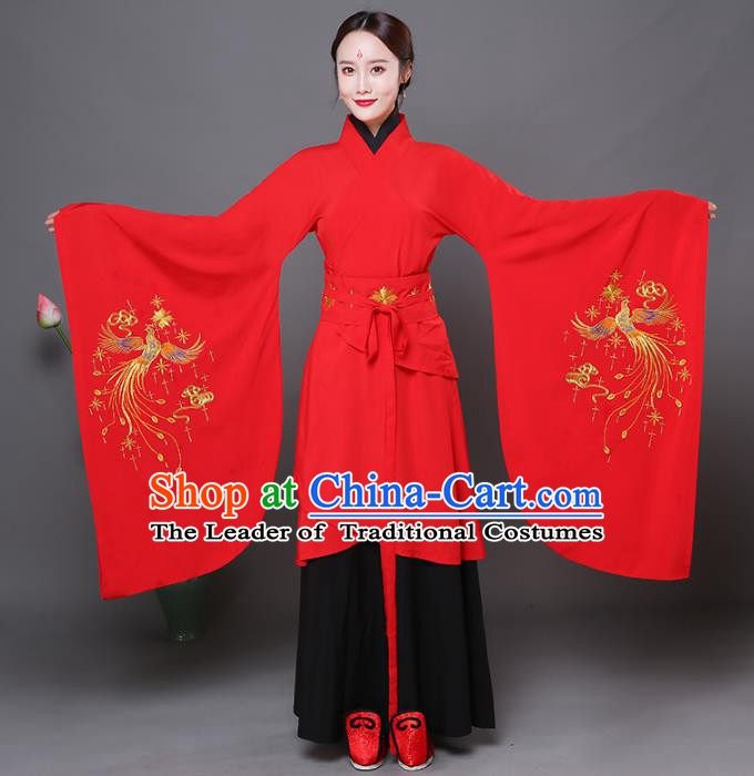 Traditional Chinese Ancient Princess Wedding Red Costume Han Dynasty Palace Lady Embroidered Clothing for Women