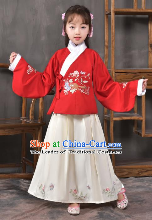 Traditional China Ming Dynasty Ancient Princess Costume Embroidered Blouse and Skirt for Kids