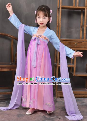 Traditional China Tang Dynasty Princess Pink Costume, Chinese Ancient Palace Lady Hanfu Clothing for Kids