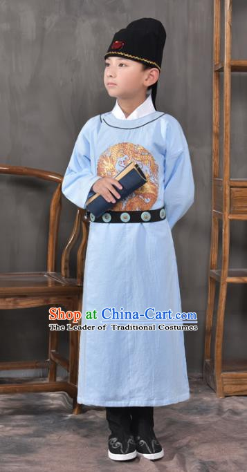 Traditional China Tang Dynasty Imperial Bodyguard Costume, Chinese Ancient Swordsman Blue Clothing for Kids