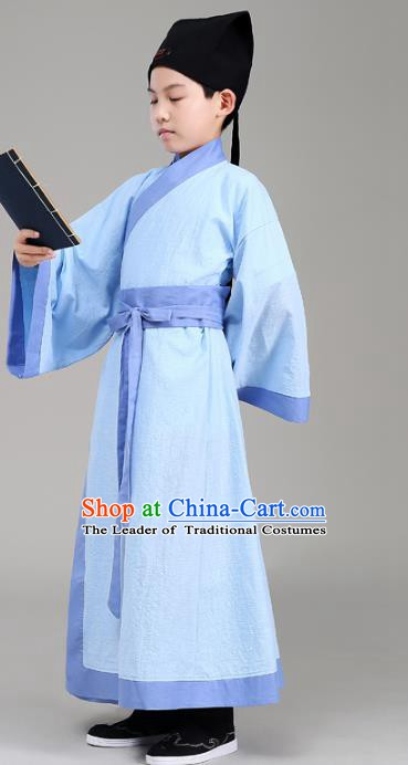 Traditional China Han Dynasty Minister Costume Blue Robe, Chinese Ancient Scholar Hanfu Clothing for Kids