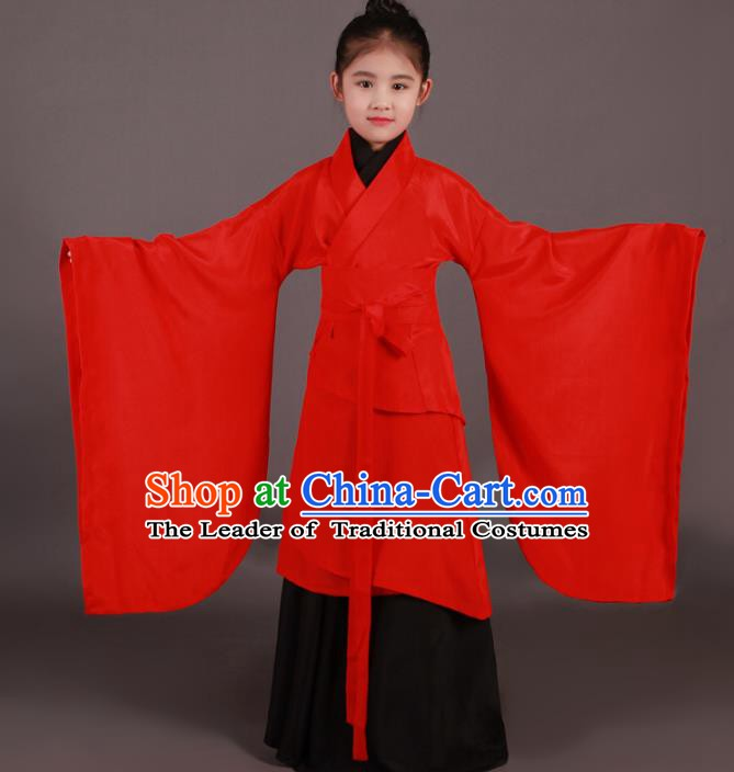 Traditional China Han Dynasty Girls Costume, Chinese Ancient Princess Hanfu Clothing for Kids