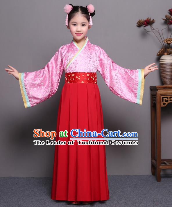 Traditional China Qin Dynasty Young Lady Costume, Chinese Ancient Princess Hanfu Clothing for Kids