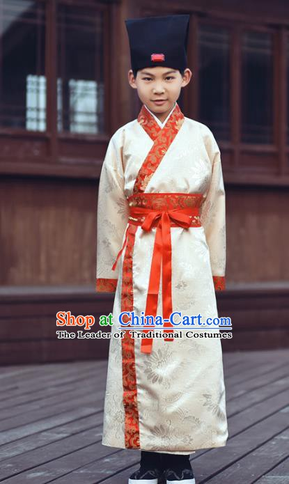 Traditional China Han Dynasty Minister Costume, Chinese Ancient Chancellor Hanfu Robe Clothing for Kids