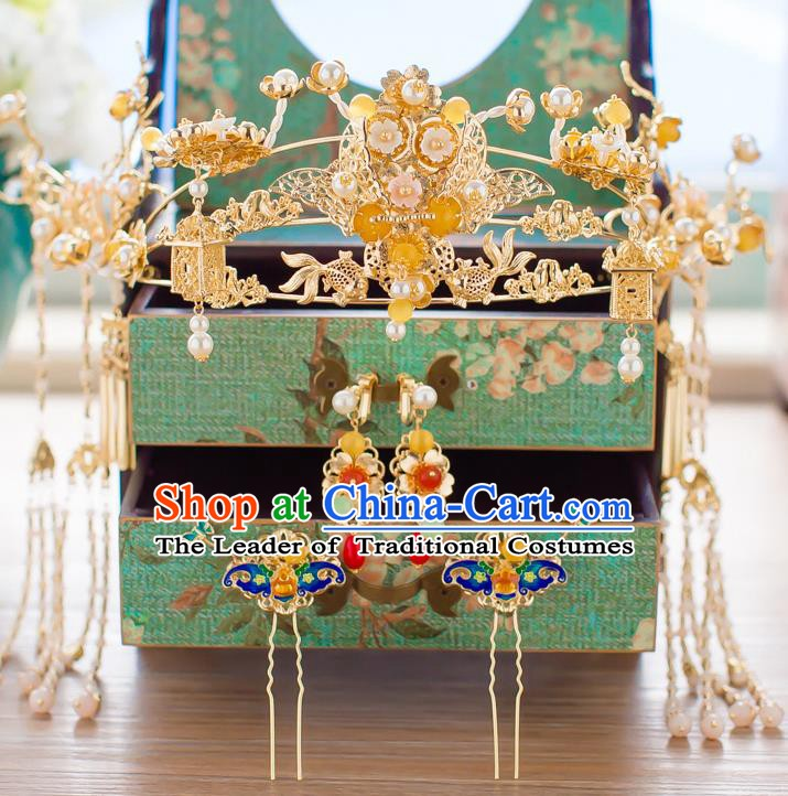 Chinese Handmade Classical Hair Accessories Wedding Golden Phoenix Coronet Hairpins Complete Set