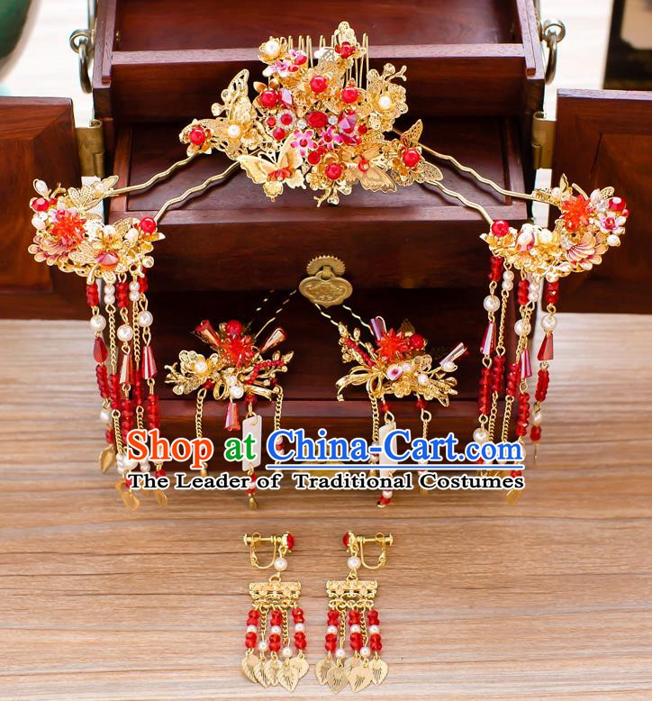 Chinese Handmade Classical Hair Accessories Wedding Hairpins Frontlet Headwear Complete Set
