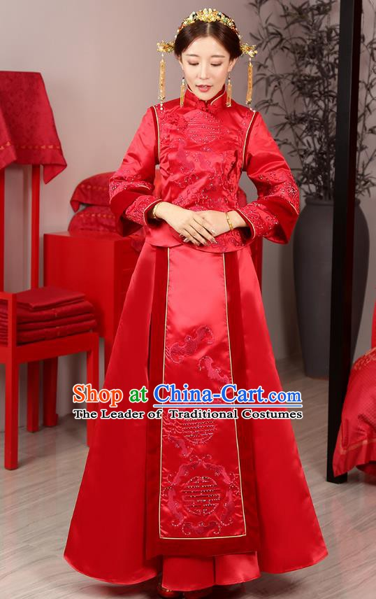 Traditional Chinese Wedding Costume Ancient Bride Bottom Drawer Embroidered Xiuhe Suits for Women
