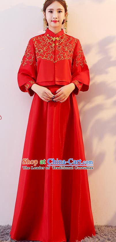 Traditional Chinese Wedding Costume Xiuhe Suit Ancient Bride Embroidered Red Dress Cheongsam for Women