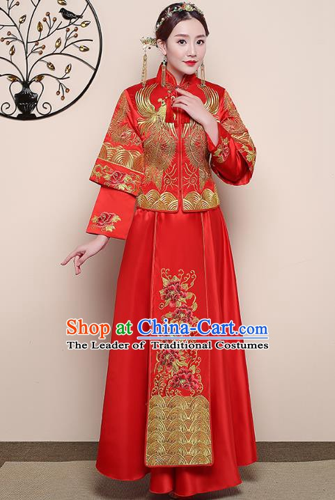 Traditional Chinese Wedding Costume Ancient Bride Embroidered Phoenix Red Xiuhe Suit Clothing for Women