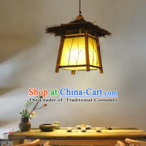 Traditional Chinese Straw Braid Palace Lanterns Handmade Hanging Lantern Ancient Ceiling Lamp