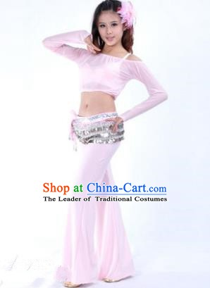 Indian National Belly Dance Pink Uniform Bollywood Oriental Dance Costume for Women