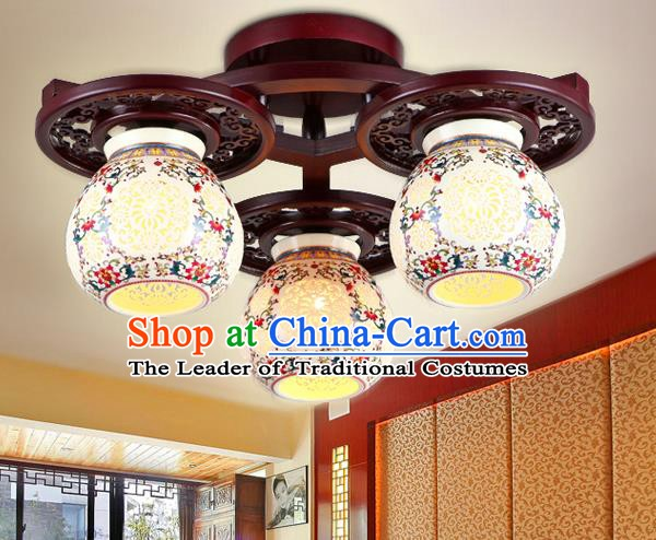 Traditional Chinese Three-Lights Ceiling Palace Lanterns Handmade Porcelain Lantern Ancient Lamp