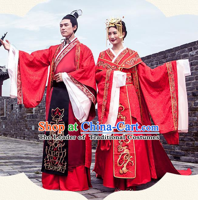 Ancient Chinese Tang Dynasty Wedding Costume Palace Bride and Bridegroom Embroidered Clothing Complete Set