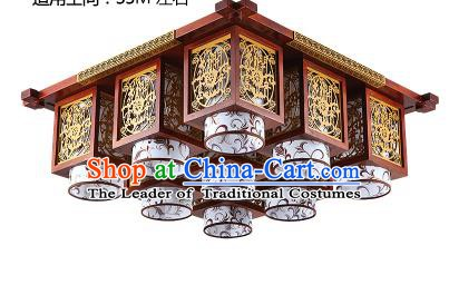 Traditional Chinese Wood Carving Hanging Ceiling Palace Lanterns Handmade Nine-pieces Lantern Ancient Lamp