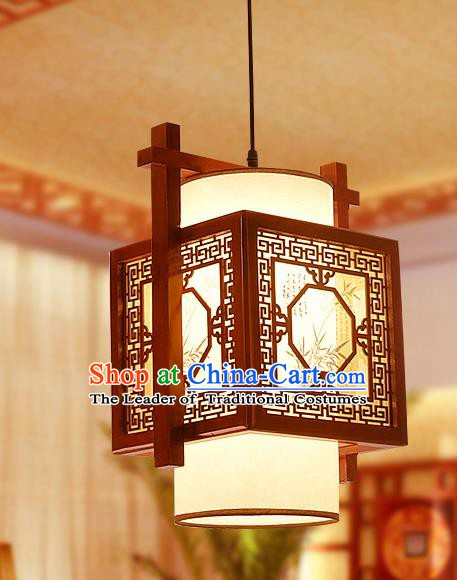 Traditional Asian Wood Carving Lanterns Handmade Painting Bamboo Ceiling Lantern Ancient Hanging Lamp