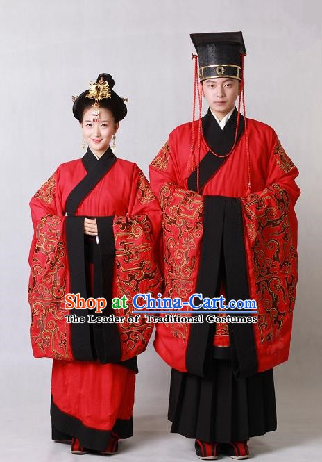 Chinese Ancient Zhou Dynasty Emperor and Empress Embroidered Wedding Clothing for Women for Men