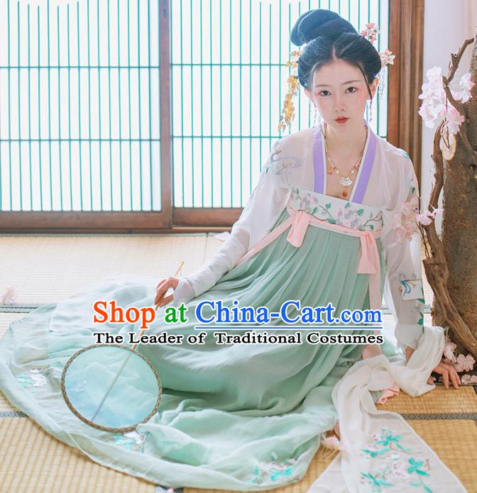 China Historical Tang Dynasty Imperial Concubine Costume Ancient Palace Lady Embroidered Dress for Women