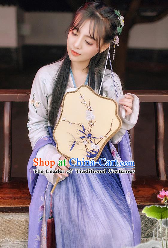 Chinese Ancient Historical Embroidered Costume Tang Dynasty Princess Dress for Women
