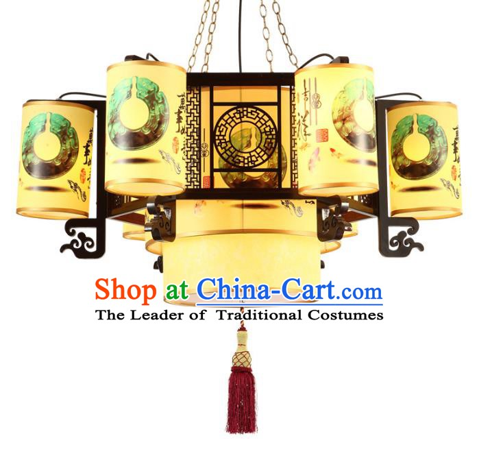 Top Grade Handmade Painting Six-Lights Palace Lanterns Traditional Chinese Lantern Ancient Ceiling Lanterns
