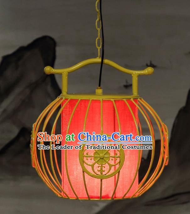 Top Grade Handmade Yellow Birdcage Palace Lanterns Traditional Chinese Iron Lantern Ancient Ceiling Lanterns