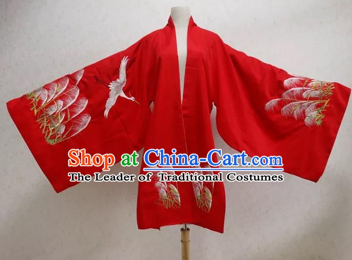 Ancient Chinese Ming Dynasty Palace Lady Costume Embroidered Red Cloak for Women