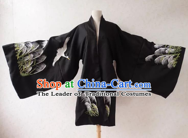Ancient Chinese Ming Dynasty Palace Lady Costume Embroidered Black Cloak for Women