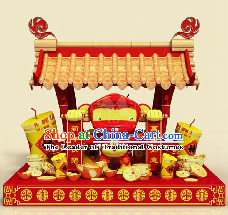 Handmade China Spring Festival Lamp Monkey Year Lamplight Decorations Stage Display Lanterns