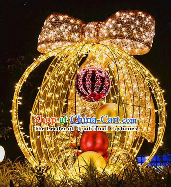 Traditional Handmade Christmas Shiny Decorations Bowknot Ball Lights Lamplight LED Lamp Lanterns