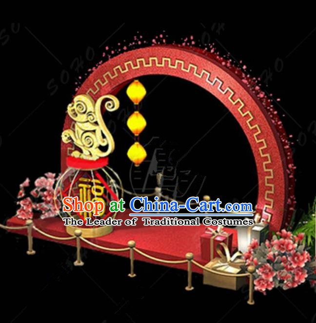 China Traditional Arrangement Monkey Year Lamp Decorations Lamplight Stage Display Lanterns