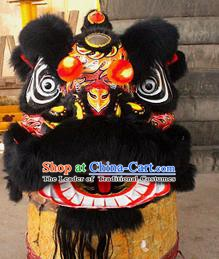 Chinese Traditional Parade Black Wool Lion Head Professional Lion Dance Costumes Complete Set