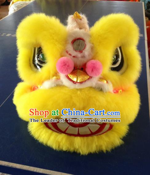 One Person Chinese Traditional Parade Yellow Lion Head Professional Wool Lion Dance Costumes Complete Set