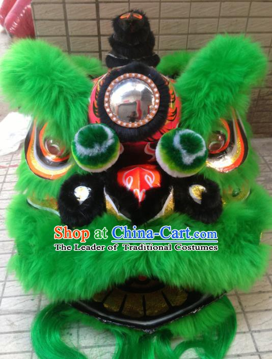 Chinese Traditional Professional Green Wool Lion Dance Costumes Celebration and Parade Lion Head Complete Set