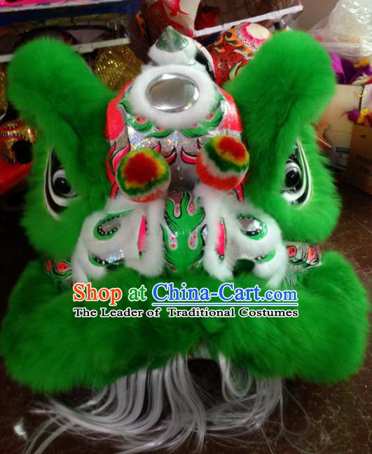 Chinese Traditional Professional Wool Lion Dance Costumes Celebration and Parade Green Lion Head Complete Set