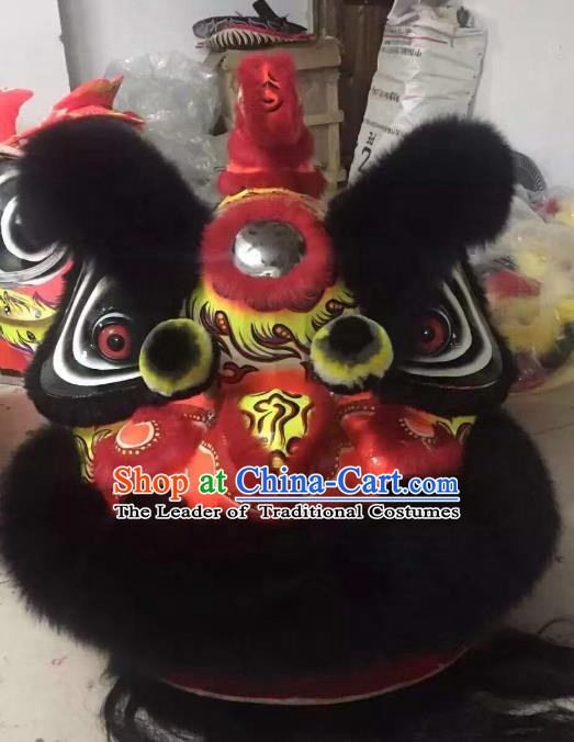 Chinese Traditional Professional Wool Red Lion Dance Costumes Celebration and Parade Lion Head Complete Set