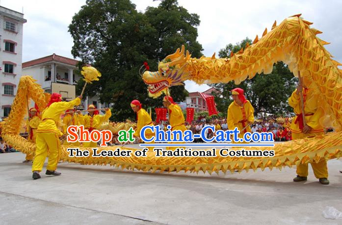 Chinese Traditional Golden Dragon Dance Costumes Professional Lantern Festival Celebration Dragon Parade Complete Set