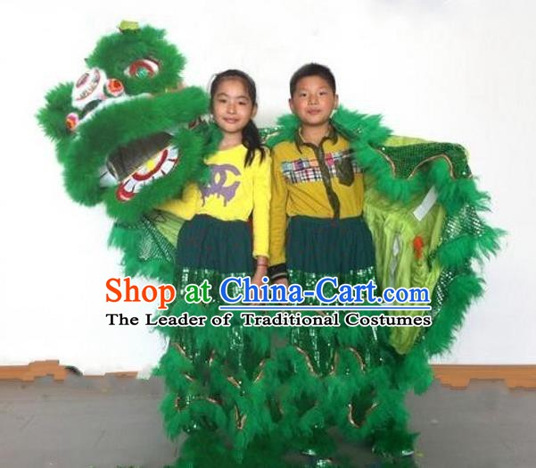 Chinese Traditional Children Lion Dance Costumes Professional Celebration Parade Green Wool Lion Head Complete Set