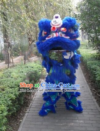 Chinese Traditional Blue Wool Lion Dance Costumes Professional Celebration Parade Lion Head Complete Set