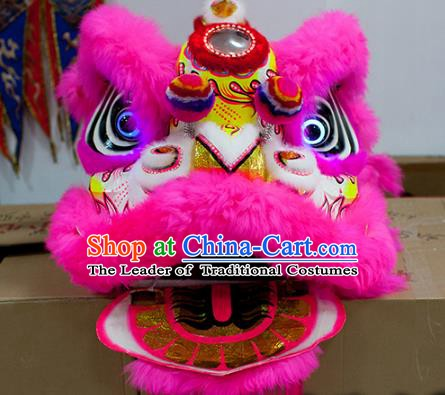 Chinese Traditional Parade Pink Wool Lion Head Professional Celebration Lion Dance Costumes Complete Set