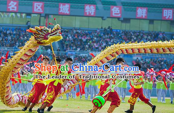 Chinese Professional Parade LED Lights Golden Dragon Dance Costumes Lantern Festival Celebration Dragon Props Complete Set