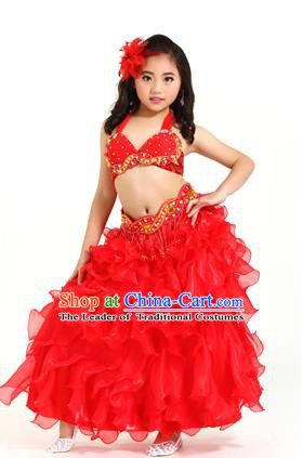 Traditional Indian Belly Dance Red Dress Asian India Oriental Dance Costume for Kids
