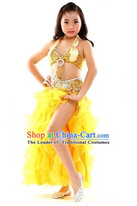 Traditional Indian Children Stage Performance Yellow Dress Oriental Belly Dance Costume for Kids