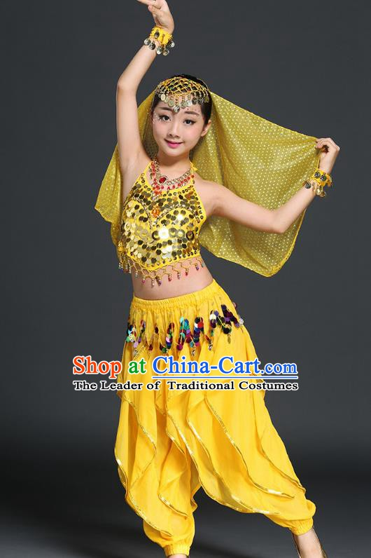 Traditional Indian Children Performance Yellow Uniforms Oriental Belly Dance Costume for Kids