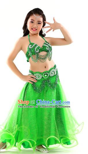 Traditional Indian Children Dance Performance Green Dress Belly Dance Costume for Kids