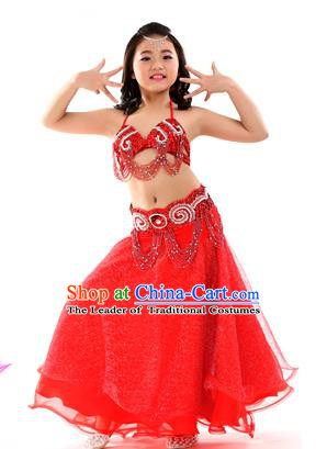 Traditional Indian Children Dance Performance Red Dress Belly Dance Costume for Kids