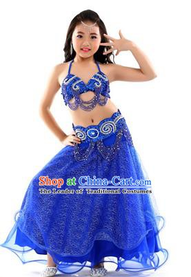Traditional Indian Children Dance Performance Royalblue Dress Belly Dance Costume for Kids