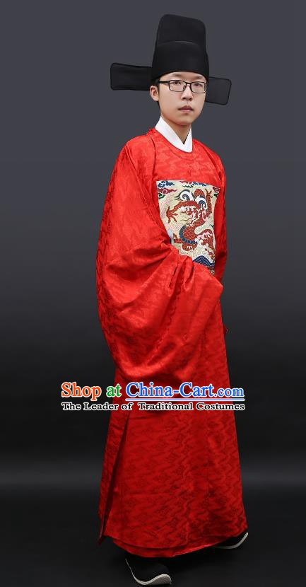Chinese Ancient Ming Dynasty Lang Scholar Costumes Embroidered Wedding Robe for Men